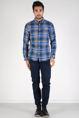 Knowledge Cotton Apparel: Checked Shirt Majolica Blue