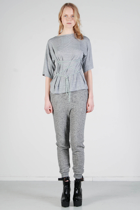 Ann-Sofie Back: Shoelace T-shirt Grey Melange