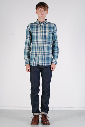 Knowledge Cotton Apparel: Double Layer Shirt Arctic Blue