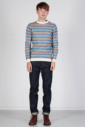 Knowledge Cotton Apparel: Stripe Knit Reversed Winter White