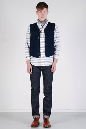 Edwin: Tailor Gilet Cerulean Denim Blue Rinsed