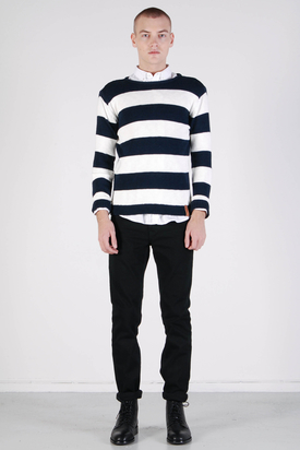 Knowledge Cotton Apparel: Single Stripe Knit Total Eclipse