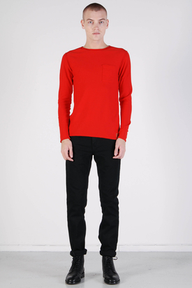 Knowledge Cotton Apparel Fine Knit With Pocket Aurora Red