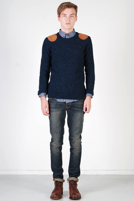 Knowledge Cotton Apparel: Knit Round Neck Tweet Navy