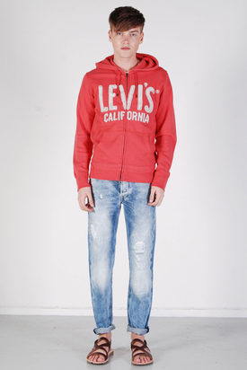Levis: Graphic Full Zip Coral Red Hood