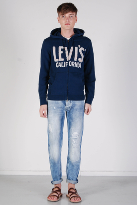 Levis: Graphic Full Zip Blue Hood