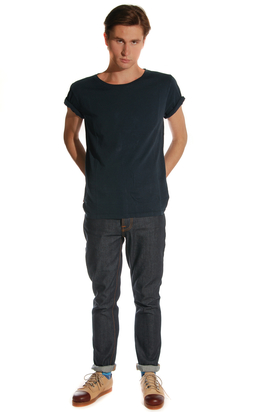 Nudie: Wide Neck Indigo Org. T-shirt