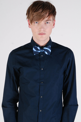 Dr Denim: Punk Light Blue Stripe Bow Tie
