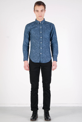 L'Homme Rouge: Grey/Blue Marble Crystals Shirt