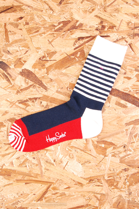Happy Socks: Blue/White Stripe Red Details