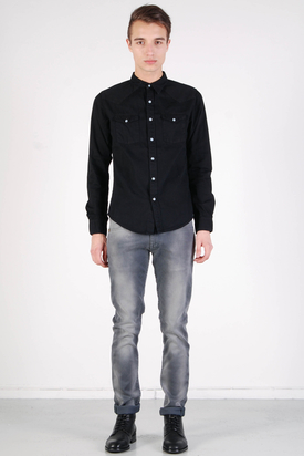 Edwin: Menphis Shirt Black Blue Chambray