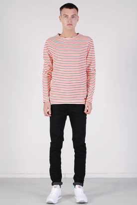 Knowledge Cotton Apparel: Stripe Boatneck Aurora Red