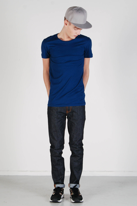 Knowledge Cotton Apparel: Basic O-neck Estate Blue Tee