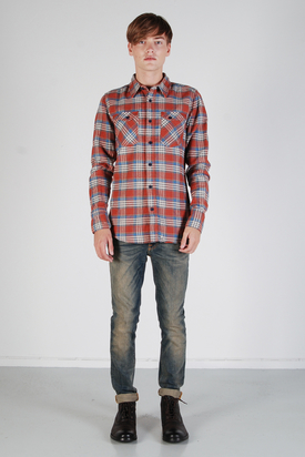 Nudie: Gunnar Organic Slubby Twill Red Shirt