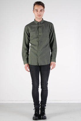 Knowledge Cotton Apparel: Melange Twill Shirt Forrest Night