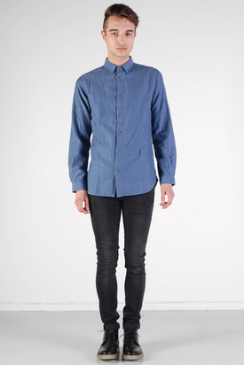 Knowledge Cotton Apparel: Melange Twill Shirt Total Eclipse