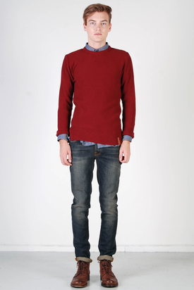 Knowledge Cotton Apparel: Basic Knit Ruby Wine White Without Owl