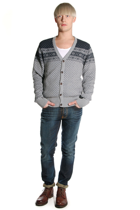 Knowledge Cotton Apparel: Jacquard Knit Cardigan Grey