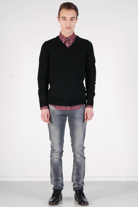Ben Sherman: Knit Wear Jet V-Neck Black