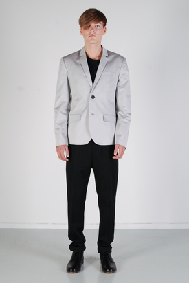 Pop Cph: Mens Two-Button Grey Cotton Blazer
