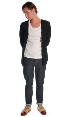 Nudie: Cardigan Org Cotton Black