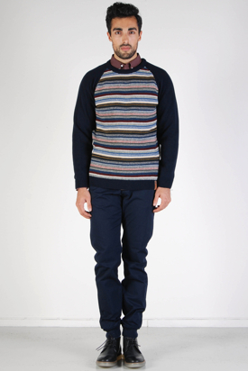 Knowledge Cotton Apparel: Jacquard Solid Knit Total Eclipse