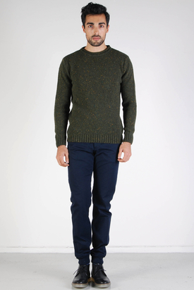 Knowledge Cotton Apparel: Neppy Knit Dark Olive