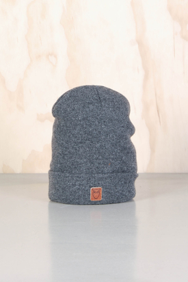 Knowledge Cotton: Beenie Hat Dark Grey Melange