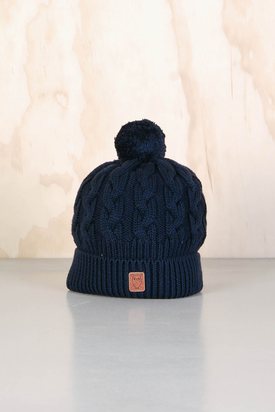 Knowledge Cotton: Cable Knit Tassel Hat Total Eclipse