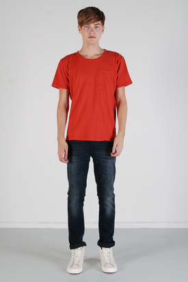 Nudie: Round Neck Pocket Tee Red