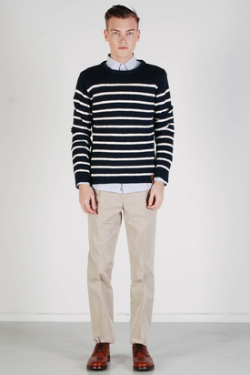 Knowledge Cotton Apparel: Round Neck Knit Striped Sweater