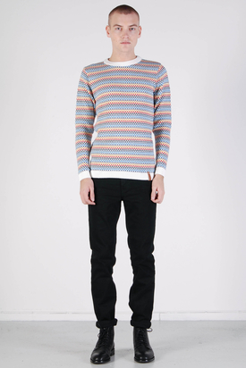 Knowledge Cotton Apparel: Multicolored Jacquard Knit Winter White