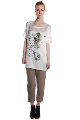 Pop Cph - Oversized Silk Tee Bird Print