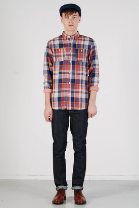 Knowledge Cotton Apparel: Double Layer Shirt Red Clay