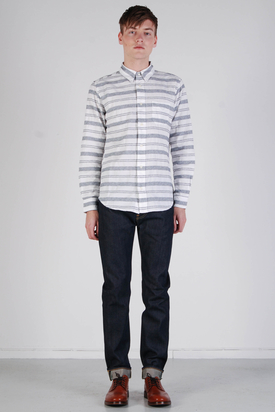 Edwin: Captain Shirt French Grey Striped
