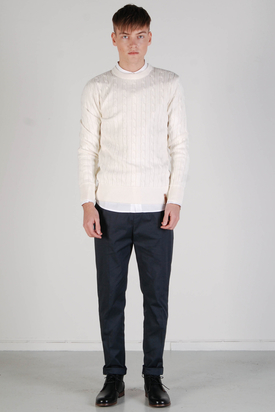 Knowledge Cotton Apparel: Cable Knit Star White Sweater