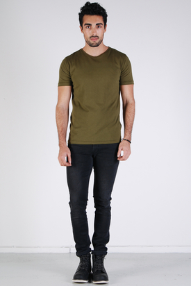 Knowledge Cotton Apparel: Basic O-neck Dark Olive Tee